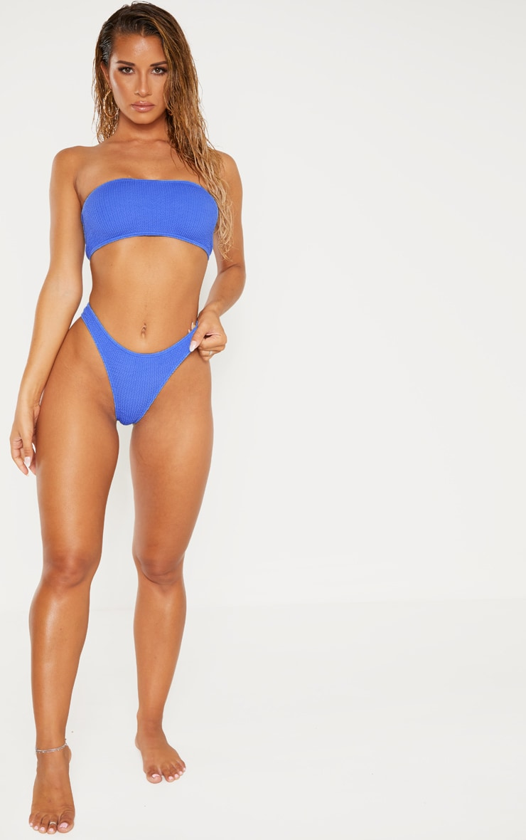 Blue Crinkle Bandeau Bikini Top 3