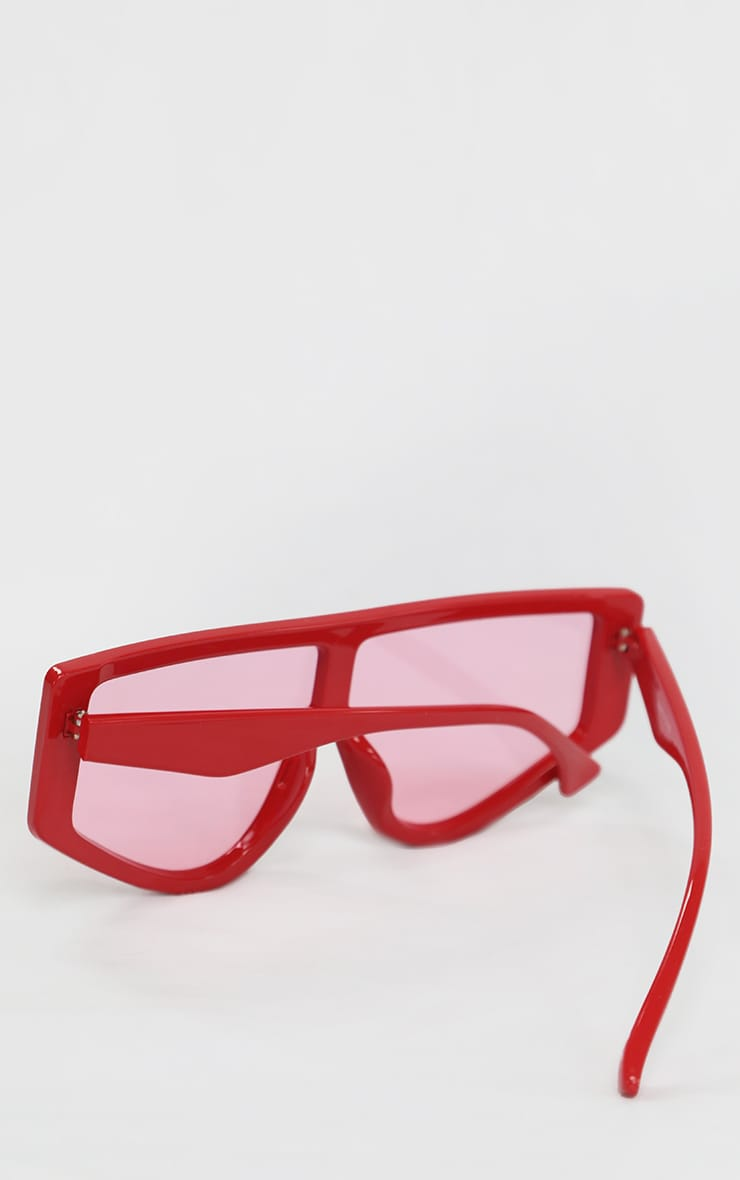 Red Straight Bar Oversized Sunglasses 4