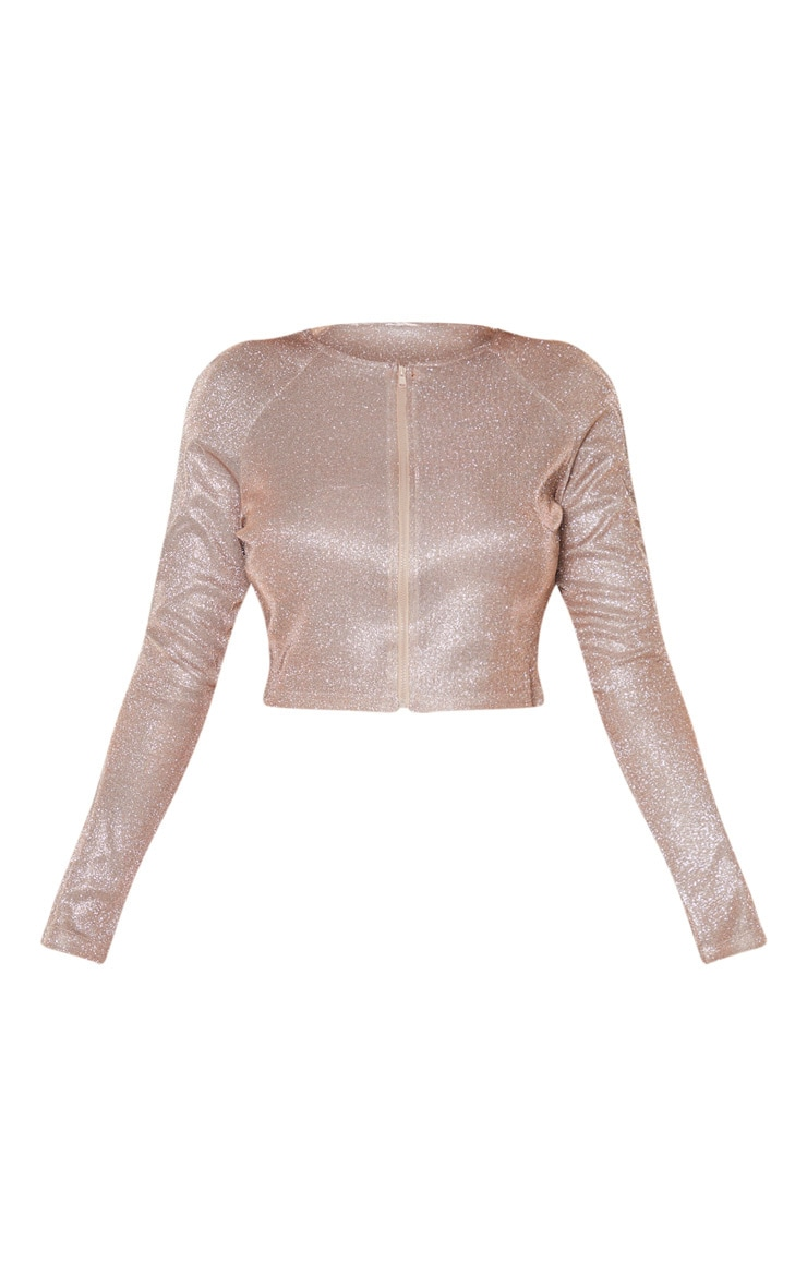 Shape Pink Glitter Long Sleeve Zip Front Crop Top 3