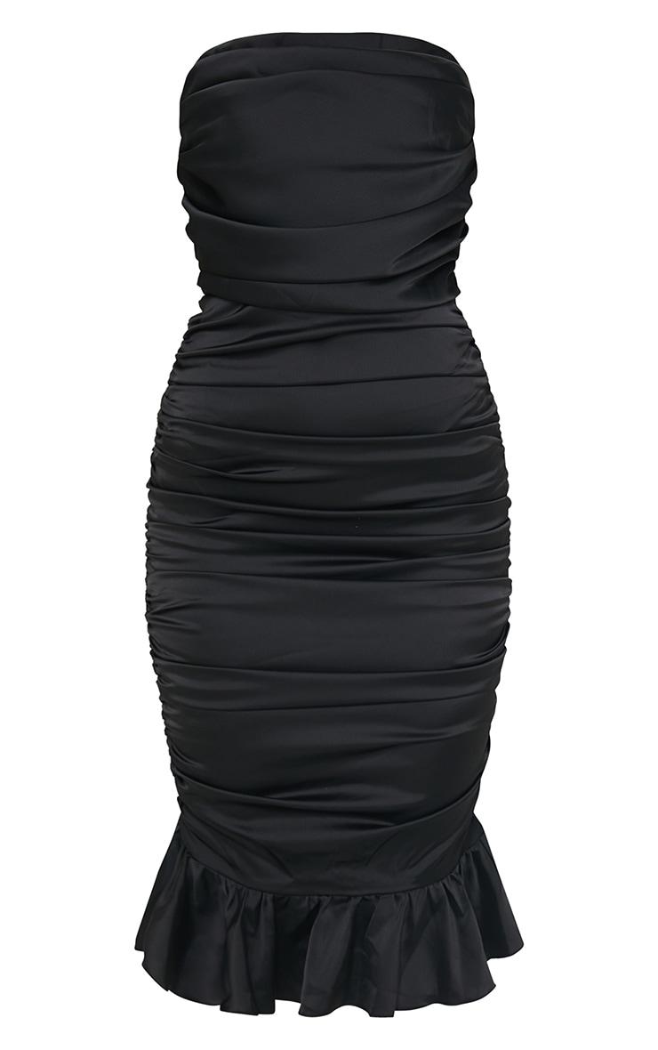 Black Satin Bandeau Ruched Frill Hem Midi Dress 5