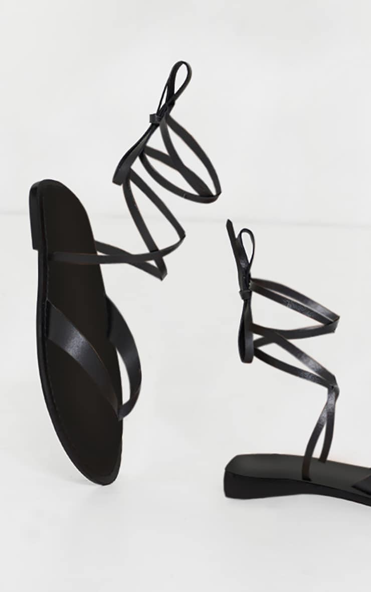 Black Toe Thong Ankle Tie Strappy Sandals 4
