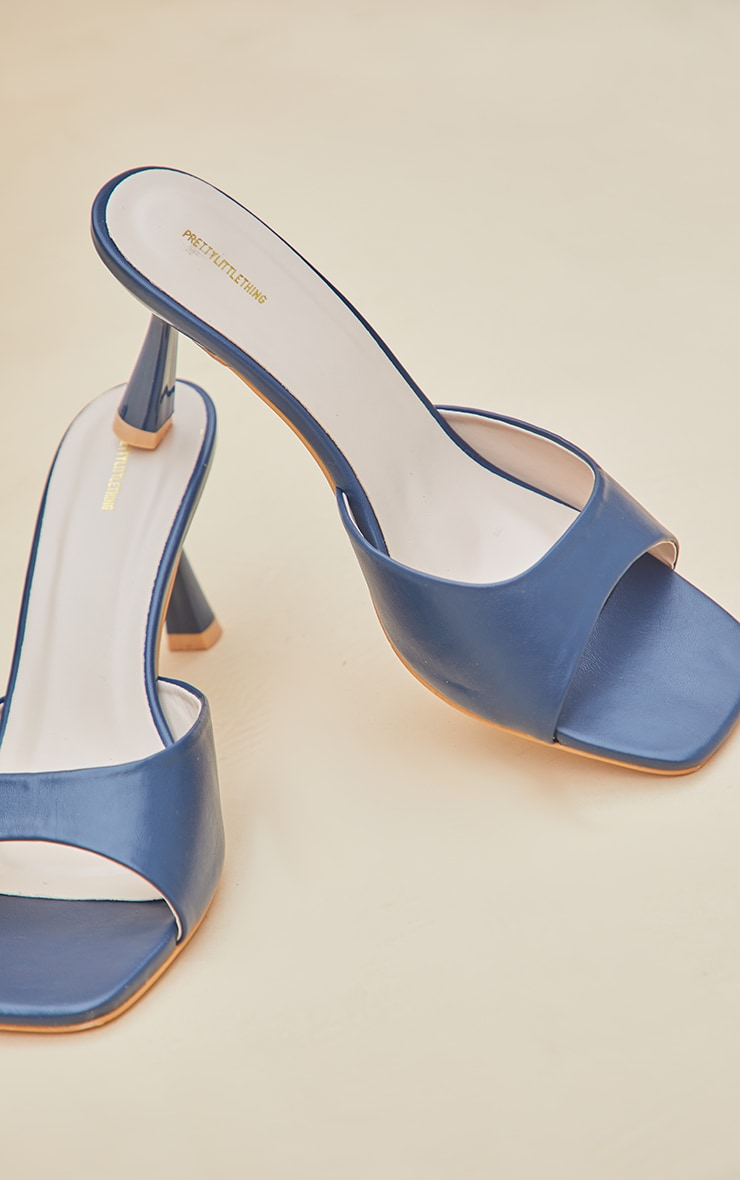 Dark Blue Low Heeled Mules 4