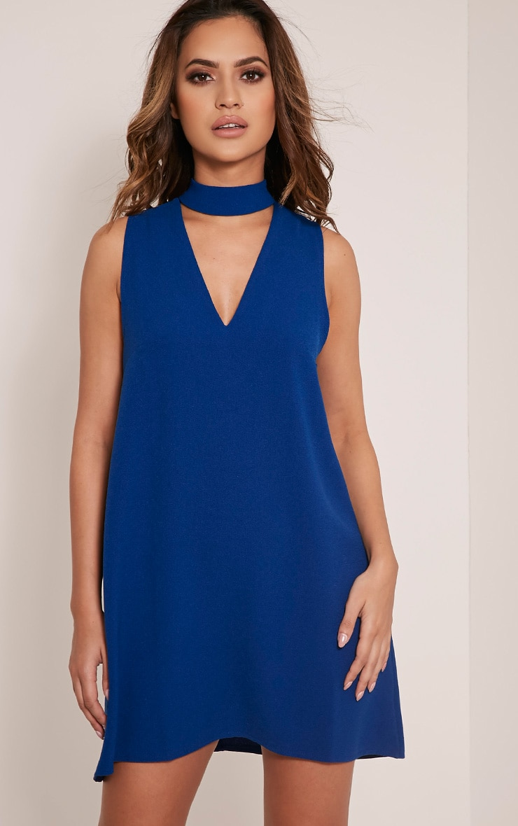 Cinder Cobalt Choker Detail Loose Fit Dress 1