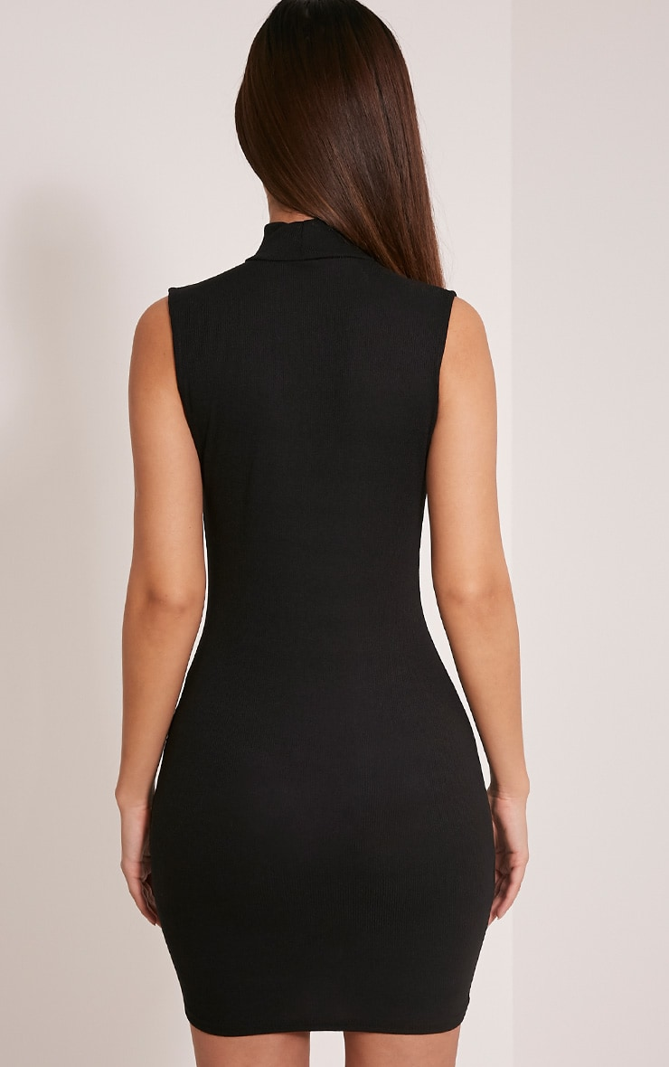 Marlene Black Sleeveless Plain Zip Ribbed Bodycon Dress 2