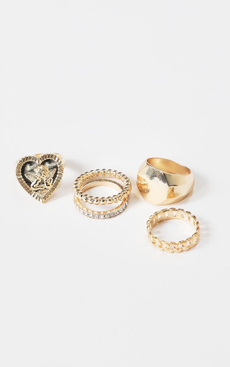 Gold Assorted Diamante Cherub Rings 1