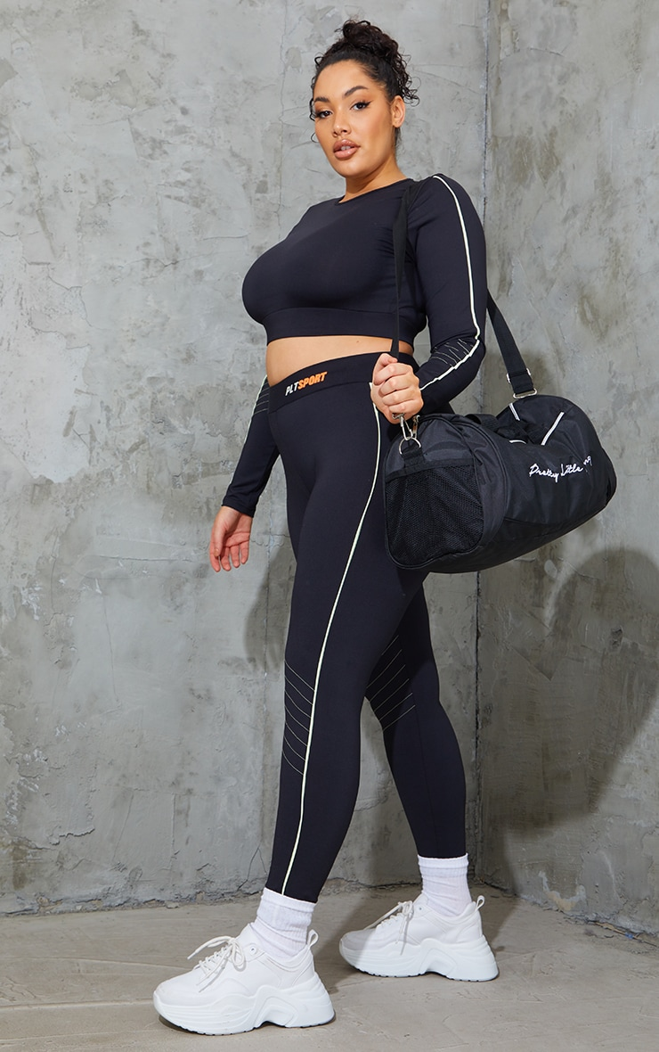 Plus Black With Lime Piping Detail Sports Leggings 1