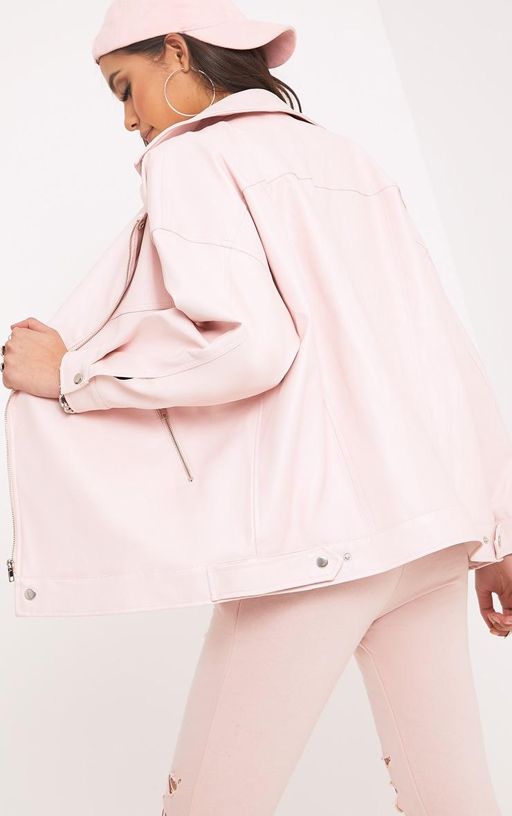 Lakeisha Pink Oversized PU Biker Jacket 2