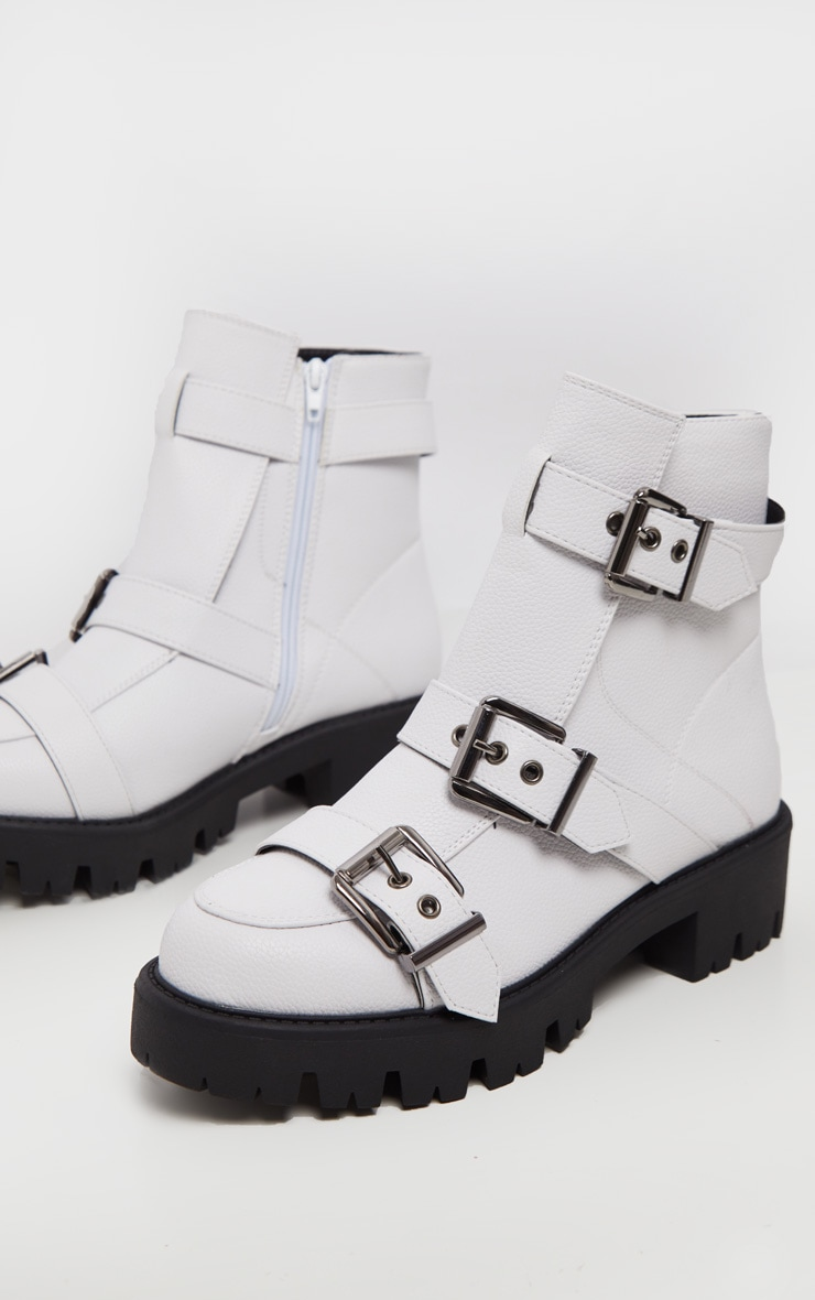 White Triple Buckle Cleated Hiker Ankle Boot 3