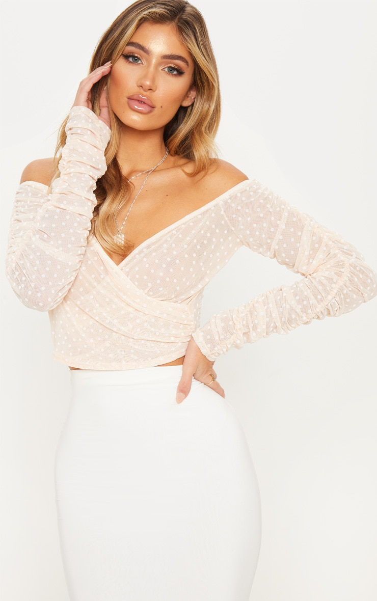 Nude Dobby Mesh Sheer Ruched Sleeve Bardot Crop Top 1