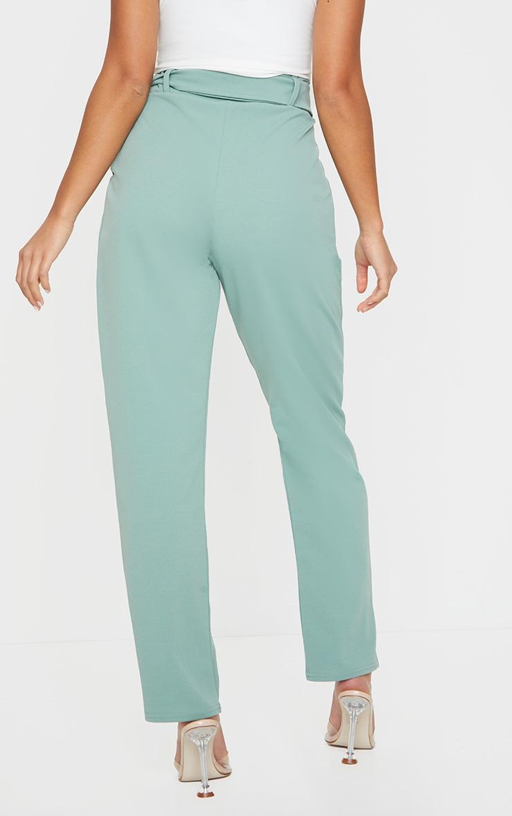 Petite Sage Green Buckle Detail Trouser 3