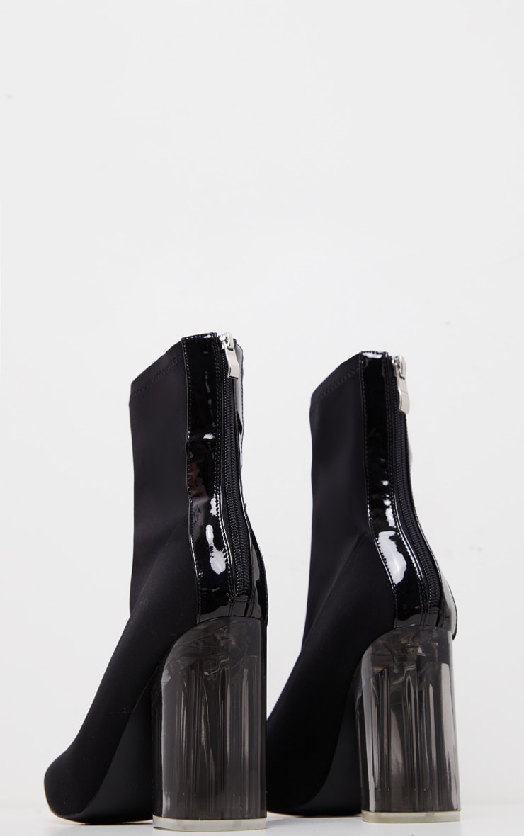 Black Round Clear Heel Sock Boot 4