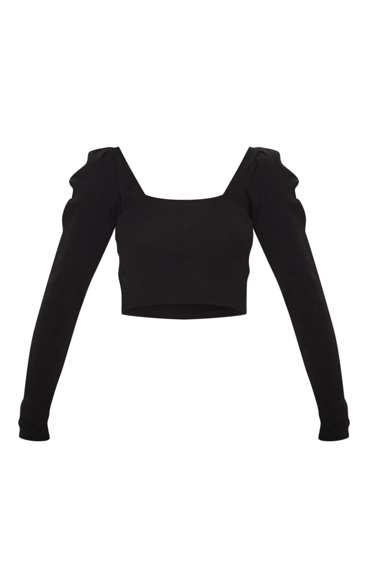 Black Square Neck Puff Sleeve Crop Sweater 3