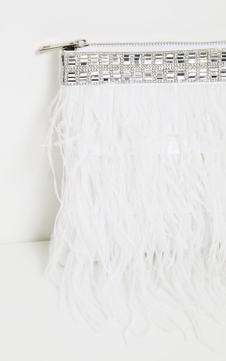 White Feather Diamante Border Clutch 4