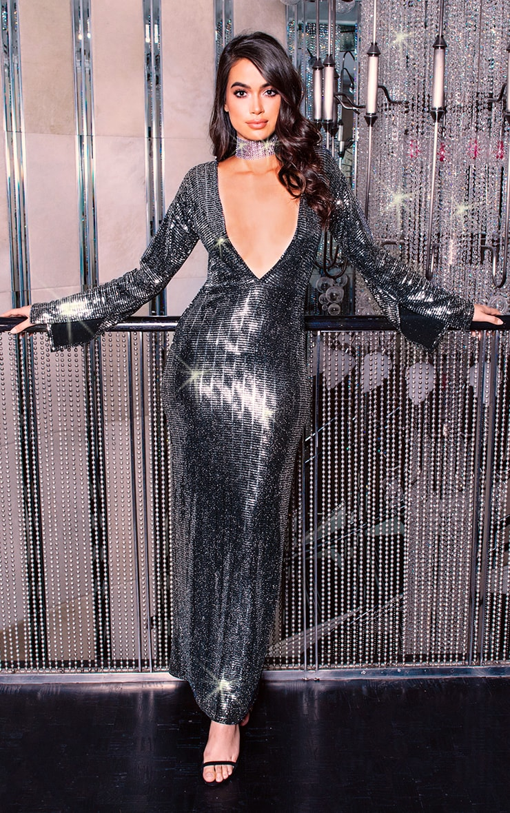 Black Long Split Sleeve Plunge Sequin Maxi Dress ...