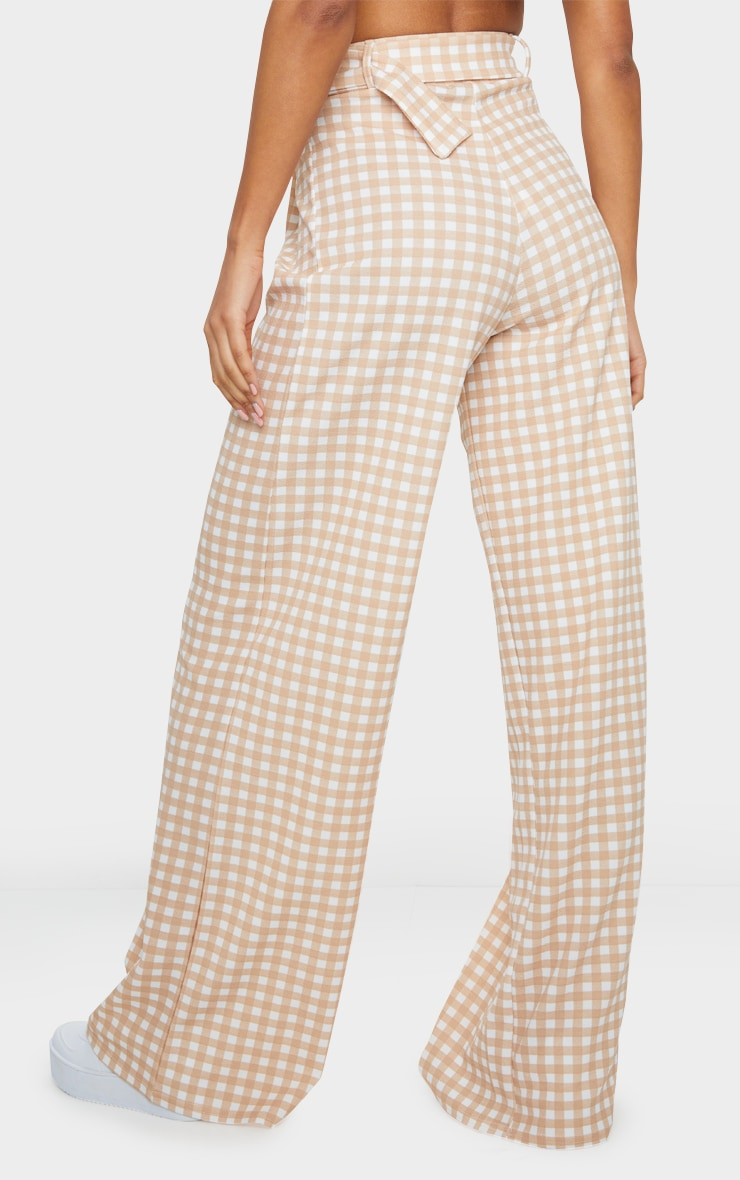 Stone Gingham Belted Wide Leg Trousers 3