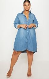 6081e5f3f6 Plus Blue Oversized Denim Shirt Dress image 4