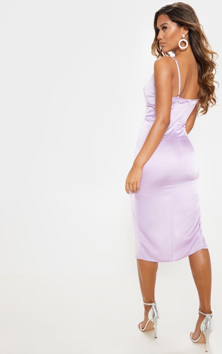 Lilac Strappy Satin Cowl Midi Dress 2
