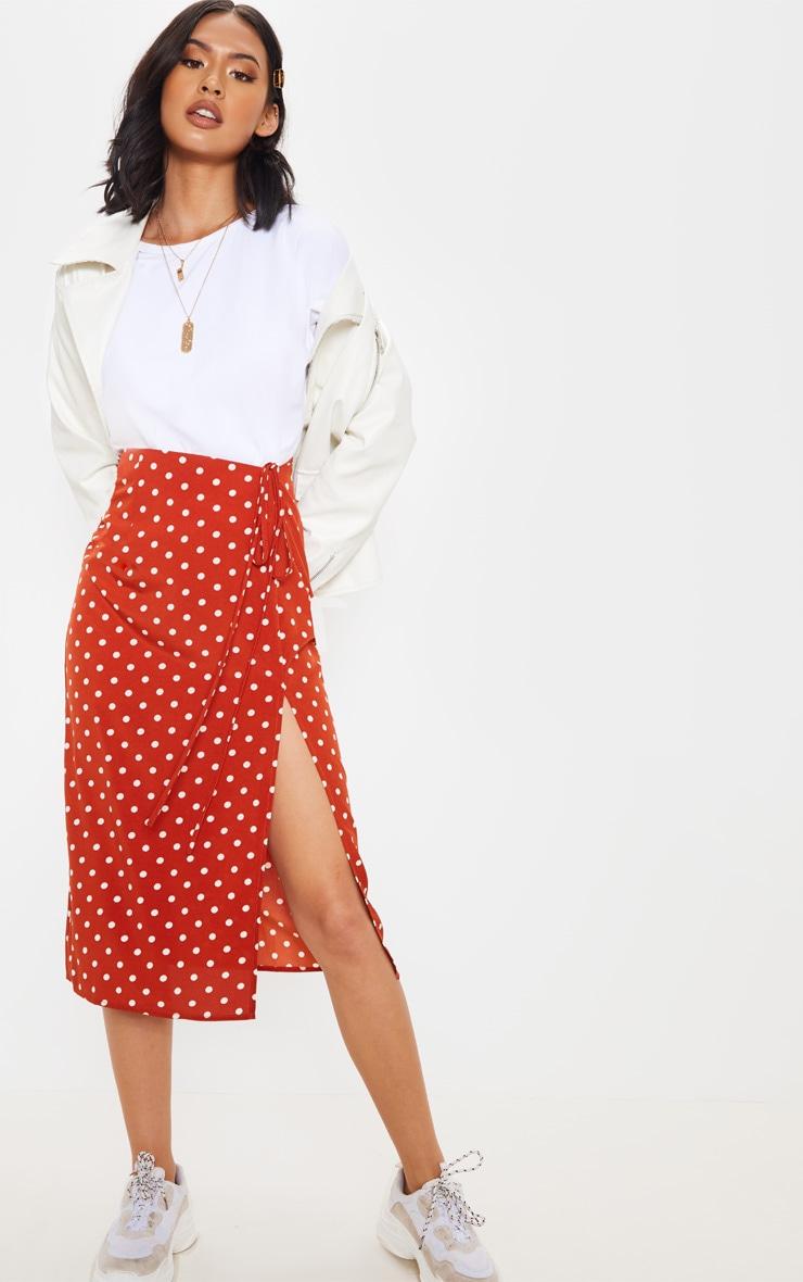 Rust Woven Large Polka Dot Split Side Midi Skirt 1