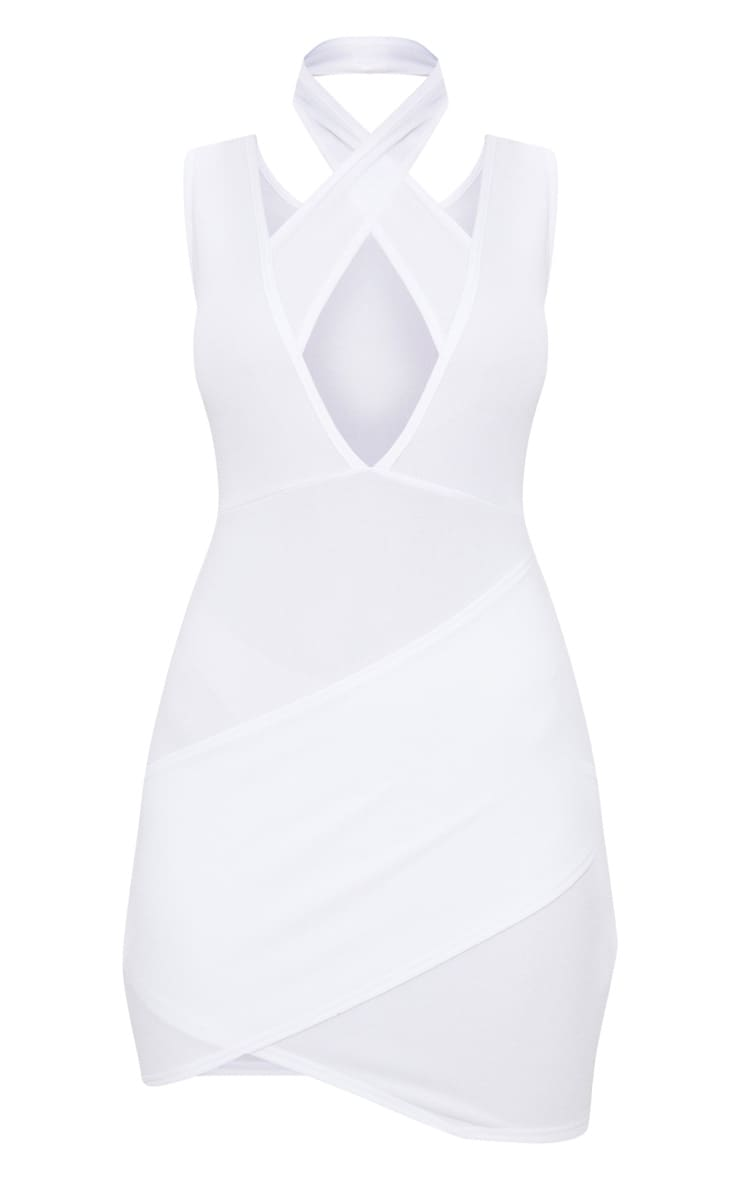 White Cross Neck Wrap Skirt Bodycon Dress 3