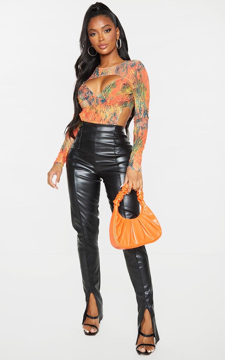 Shape Orange Croc Print Mesh Panel Cut Out Detail Bodysuit 3