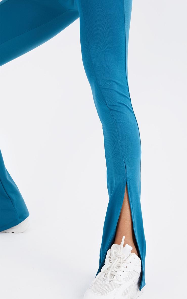 Steel Blue Stretch Scuba Skinny Split Hem Pants 4