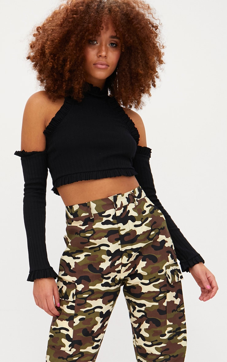 Black Ribbed High Neck Frill Cold Shoulder Crop Top 1