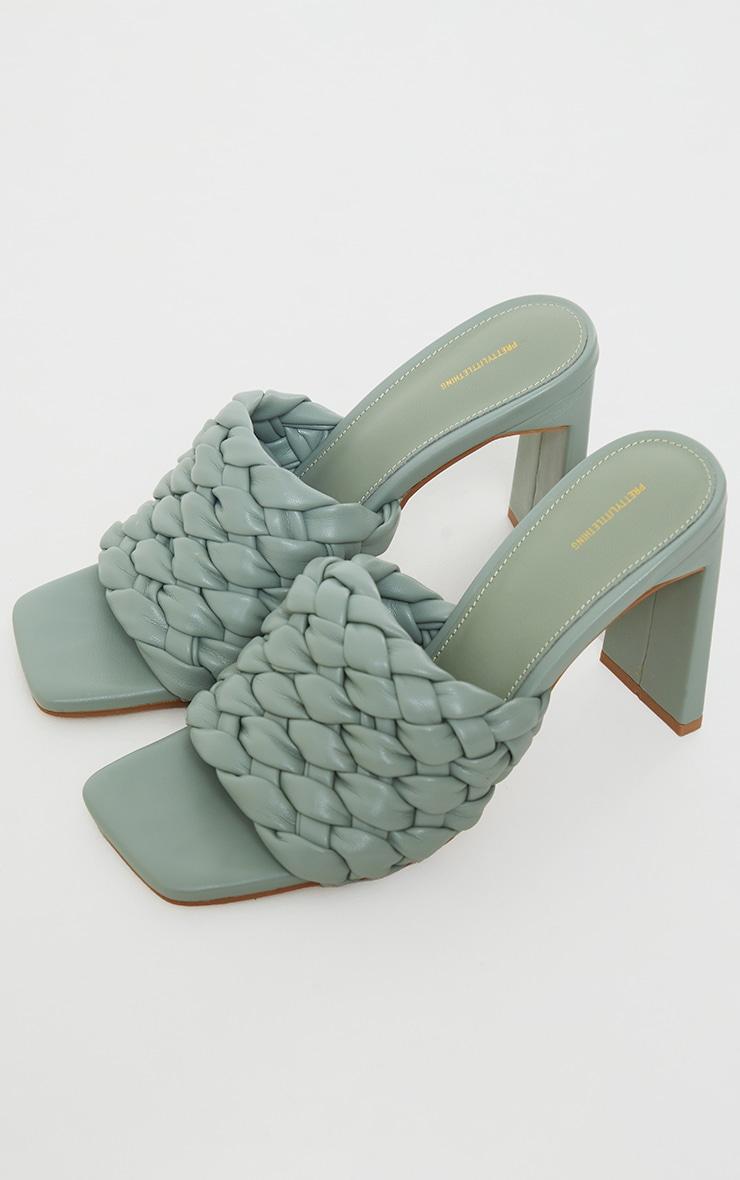Sage Green Basket Weave Square Toe High Flat Block Heel Mules 4