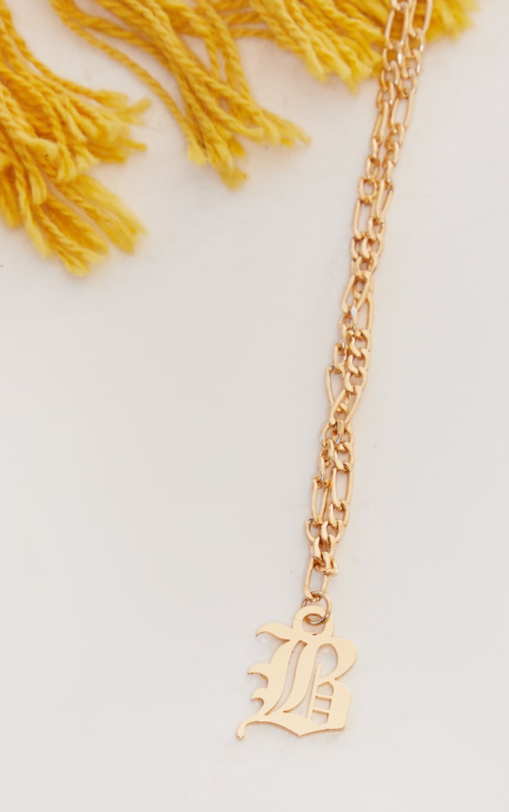 Gold Gothic B Necklace 4