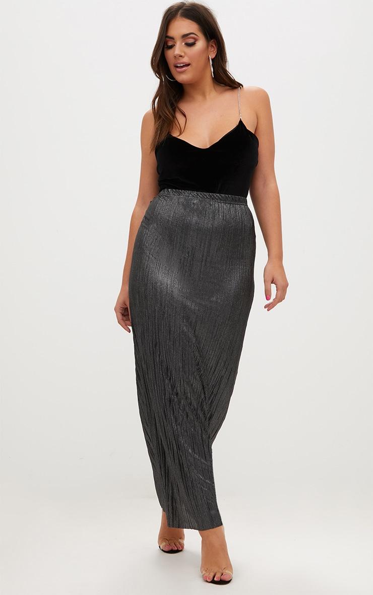 5bf87c790b Plus Black Pleated Maxi Skirt | Plus Size | PrettyLittleThing USA