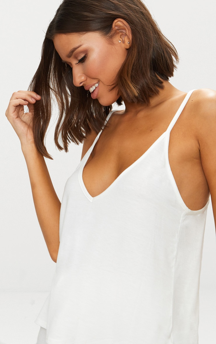 Cream Basic Jersey V Neck Swing Vest  5