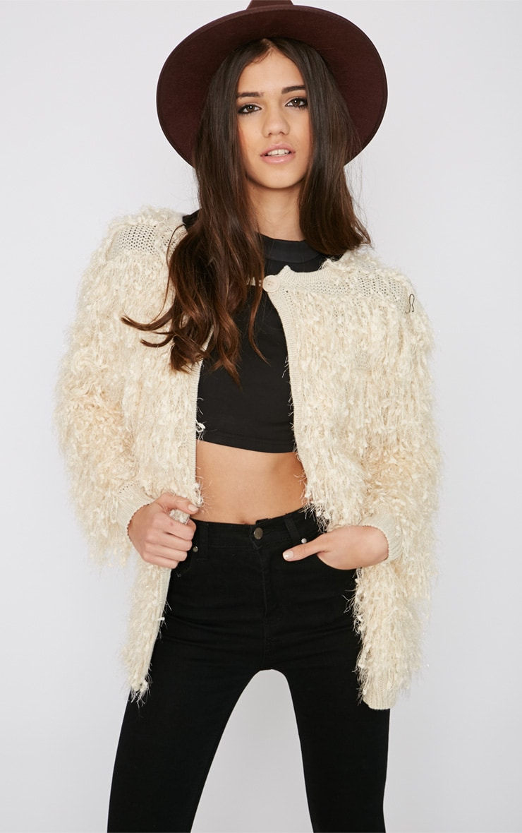Naima Cream Shaggy Knitted Jacket 1