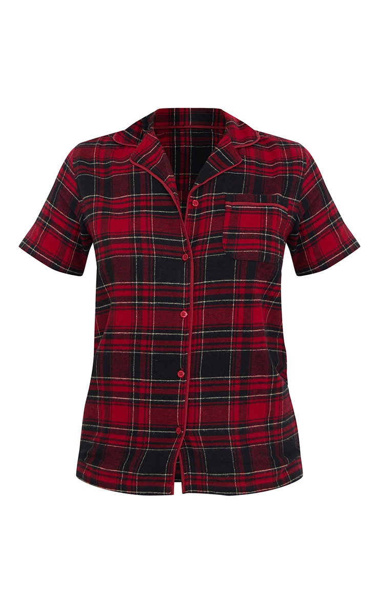 Red Mix And Match Button Up Short Sleeve Check PJ Shirt 5