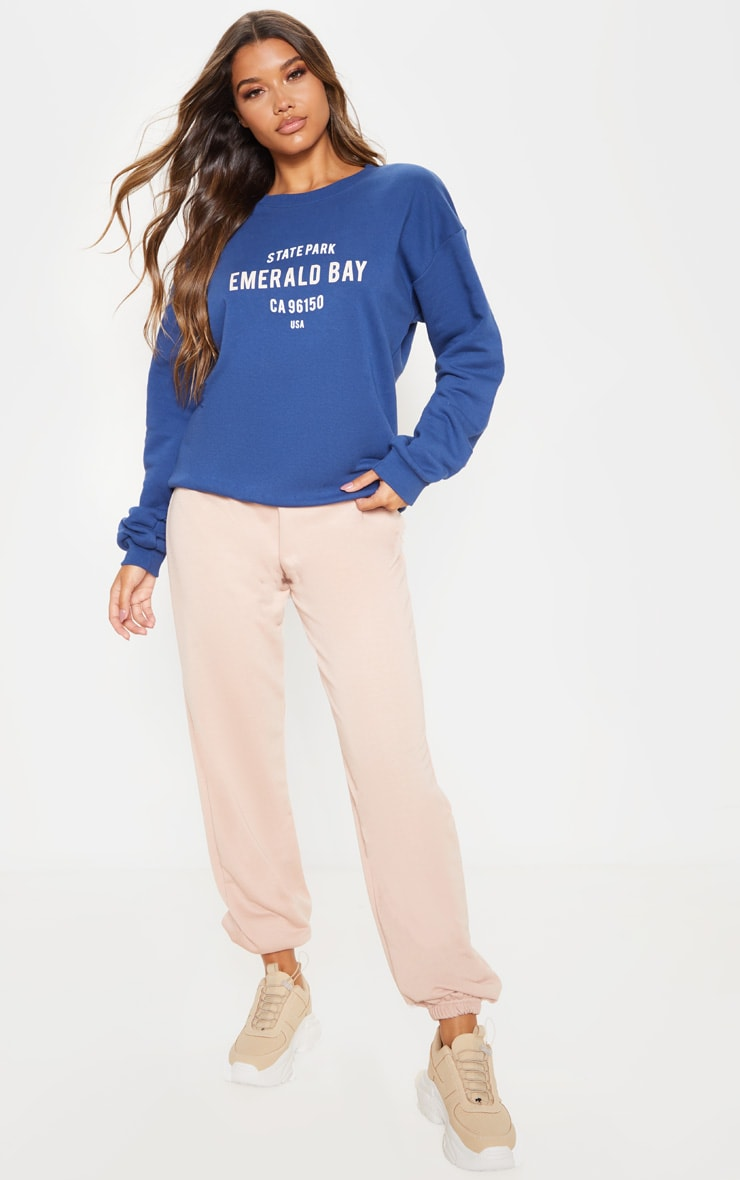 Midnight Blue Emerald Bay Slogan Sweater 4