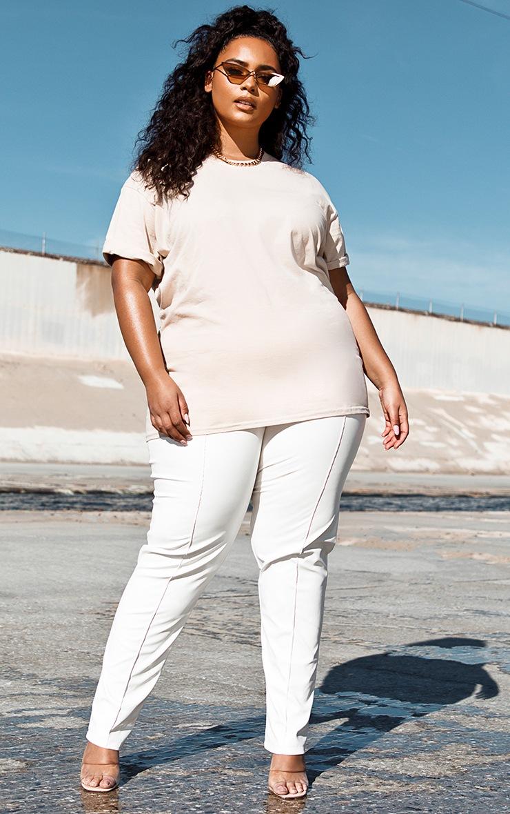 Plus Cream PU Seam Detailed Straight Leg Trousers 2