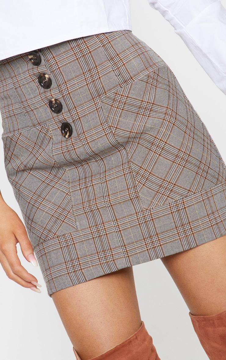 Brown Check Button Mini Skirt  6