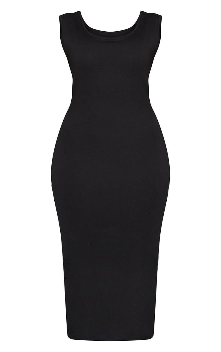 Basic Plus Black Cotton Blend Jersey Scoop Neck Midaxi Dress 6