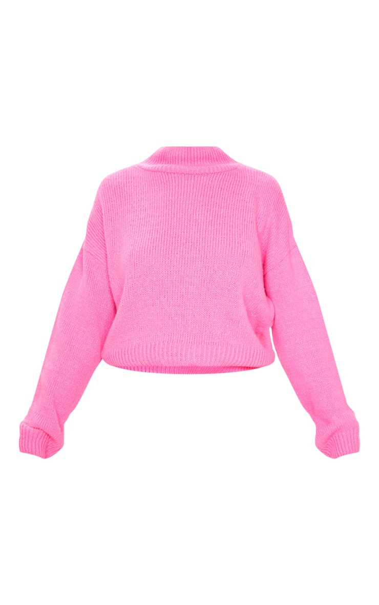 Hot Pink High Neck Fluffy Knit Cropped Sweater 3