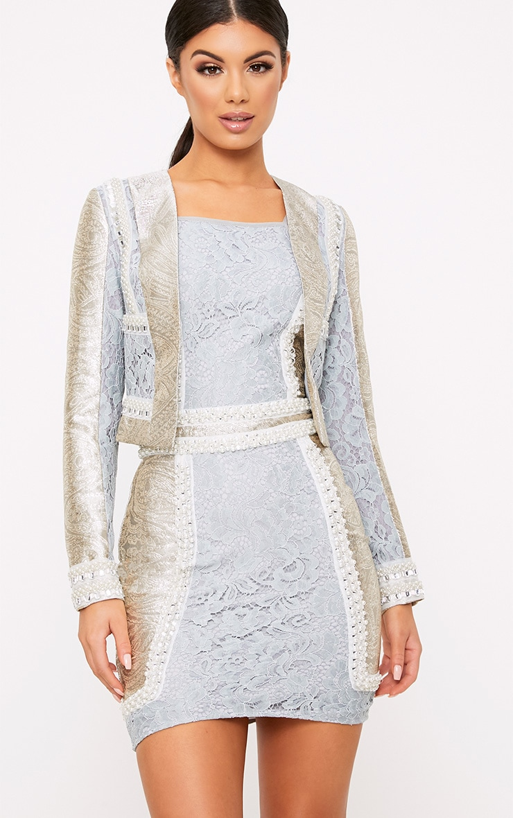 Kemmi Pale Blue Jacquard Lace Cropped Jacket 2