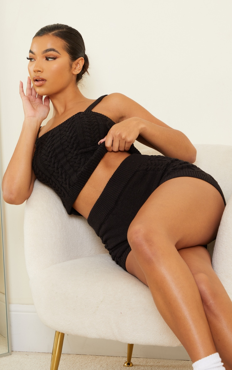 Black Cable Knitted Bralet Set 1