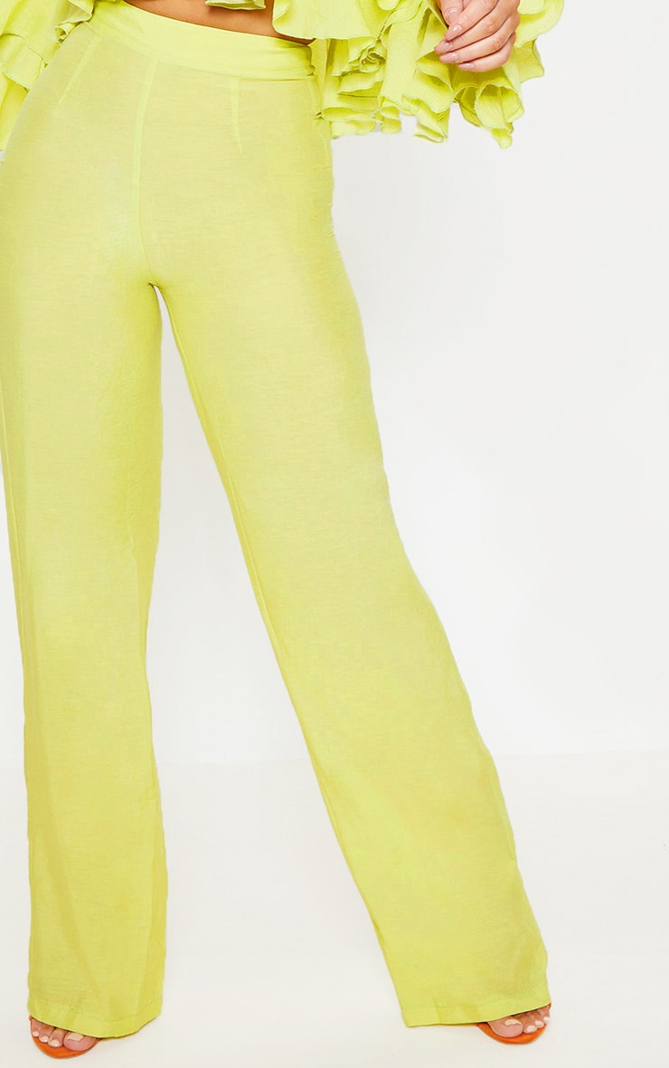 Lime Woven High Waisted Wide Leg Pants 5
