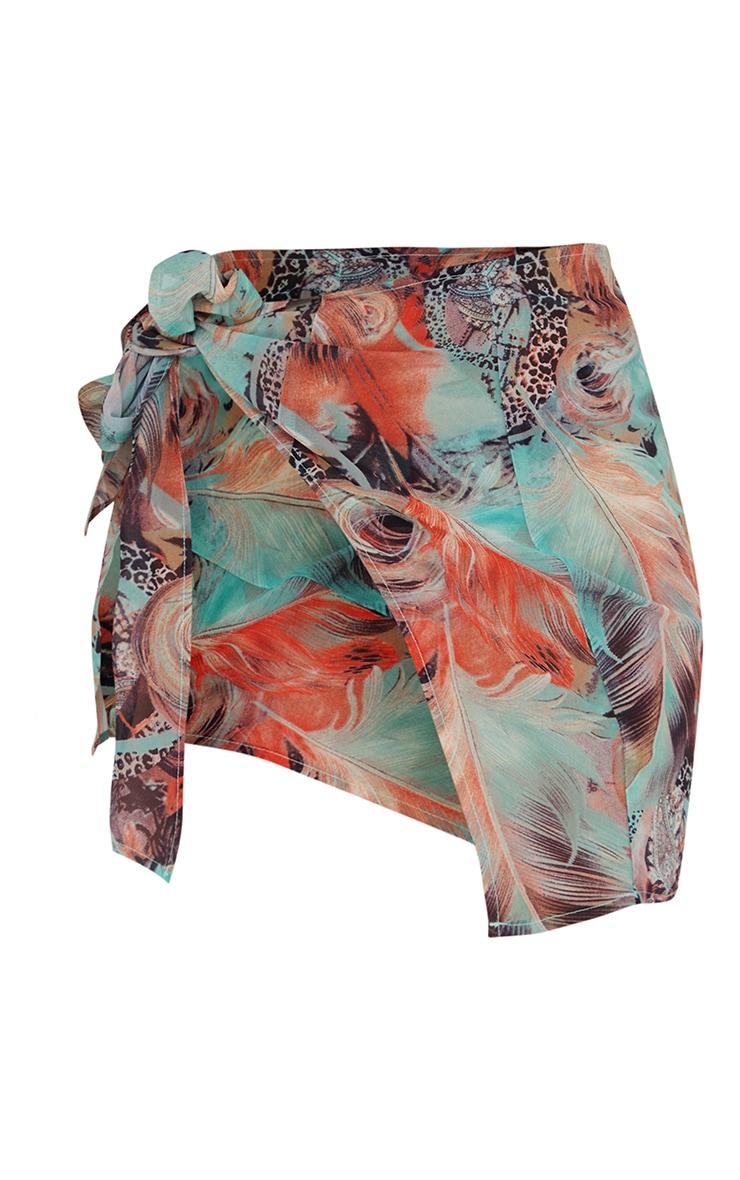 Turquoise Mixed Animal Printed Sarong 6