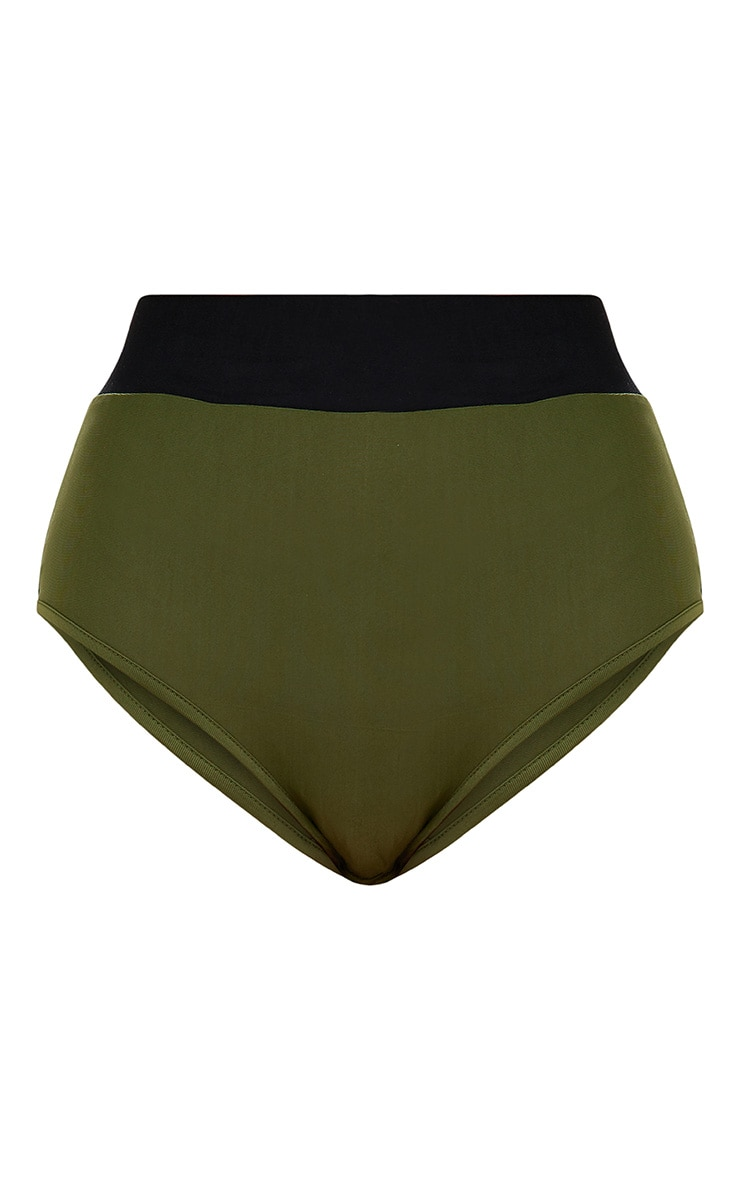 Khaki Contrast High Waisted Bikini Bottoms 3