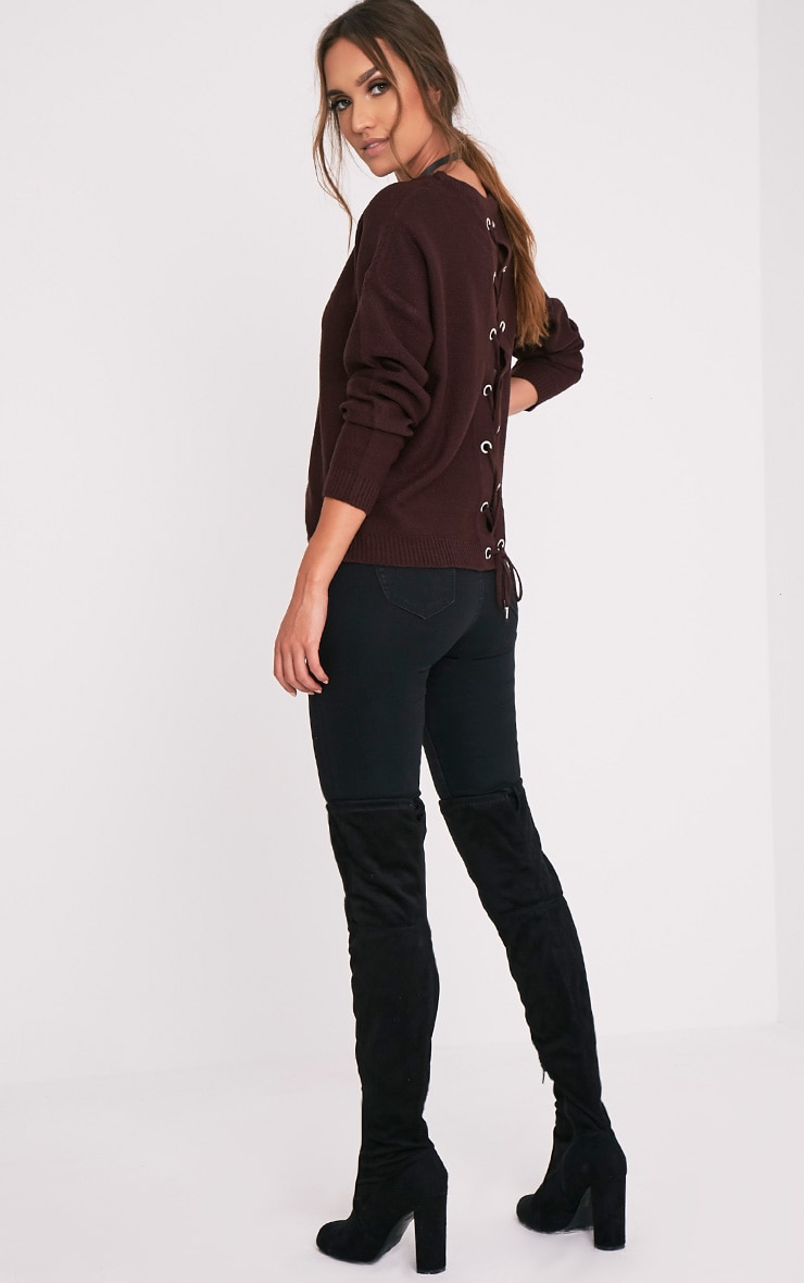 Alissa Berry Lace Up Back Knitted Jumper 5