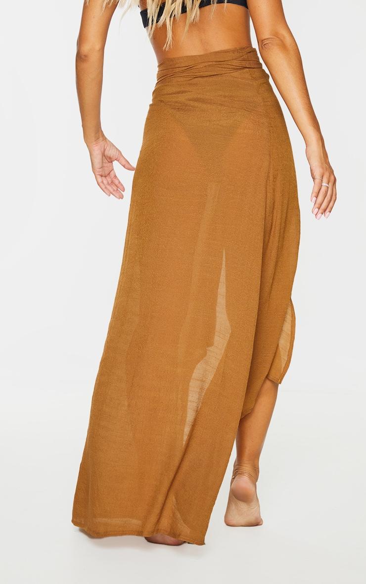 Brown Linen Look Maxi Beach Sarong 3