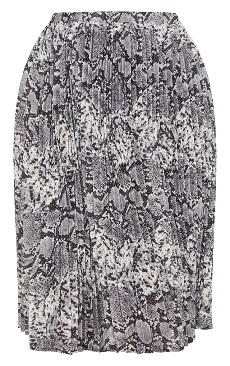 Plus Grey Snake Print Pleated Midi Skirt 3