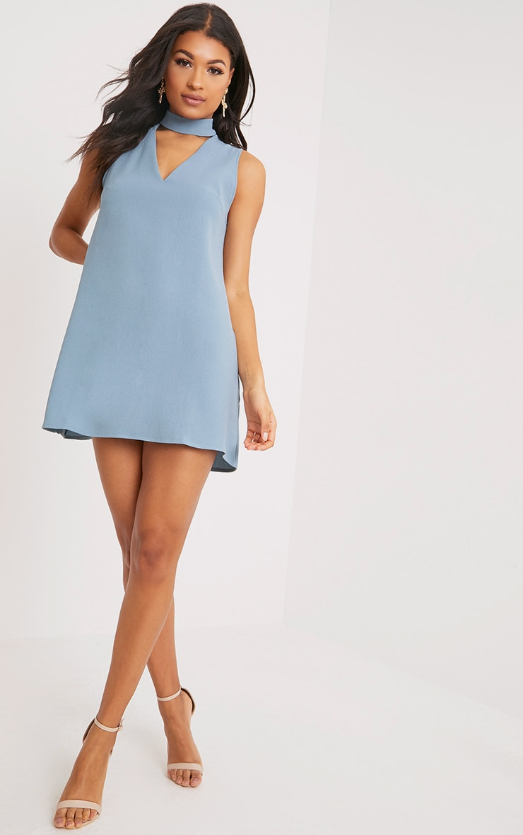 Cinder Dusty Blue Choker Detail Loose Fit Dress 4