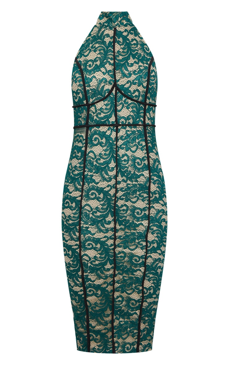 Green High Neck Backless Contrast Piping Lace Midi Dress 3