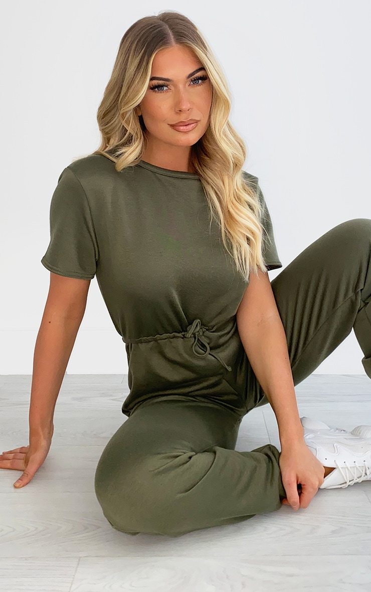 Khaki Sweat Short Sleeve Jogger Jumpsuit 4