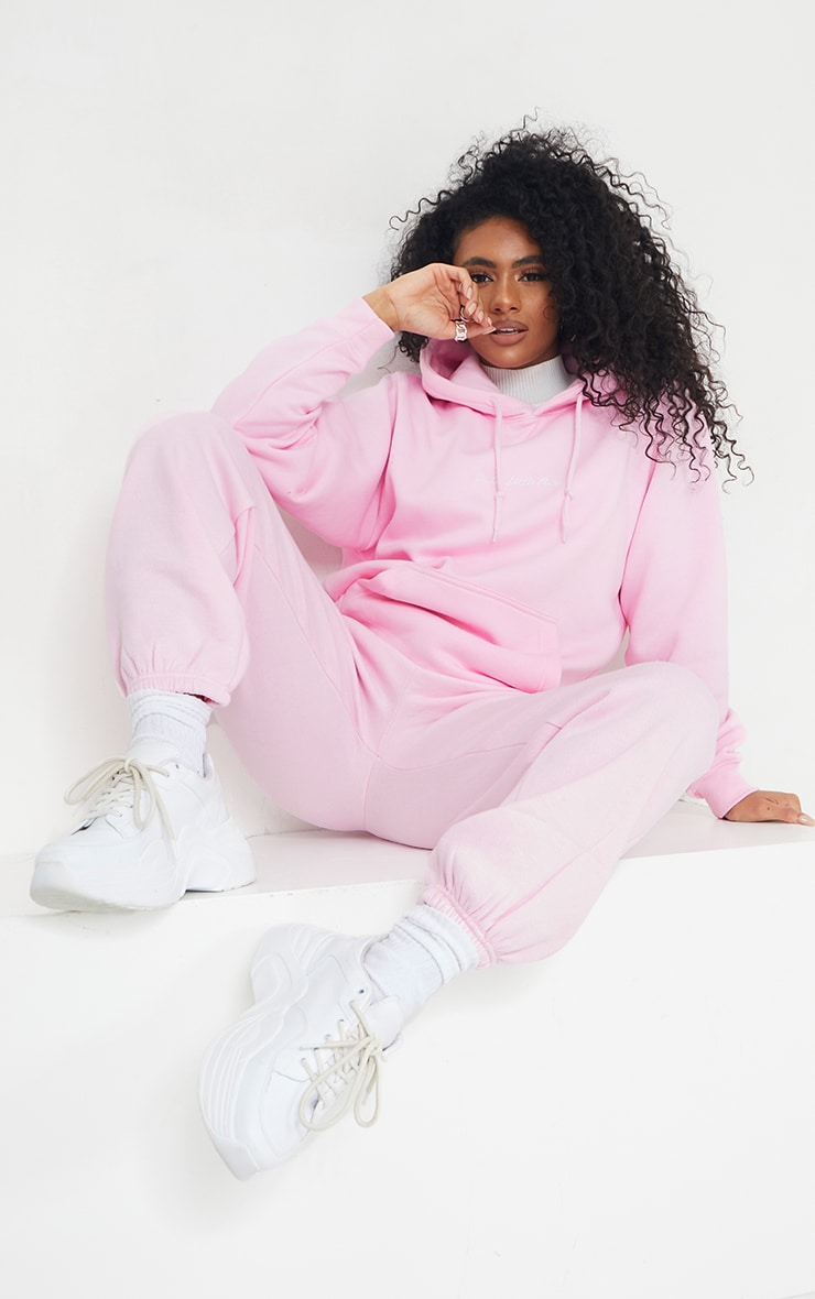 PRETTYLITTLETHING Recycled Light Pink Oversized Sweat Hoodie 3