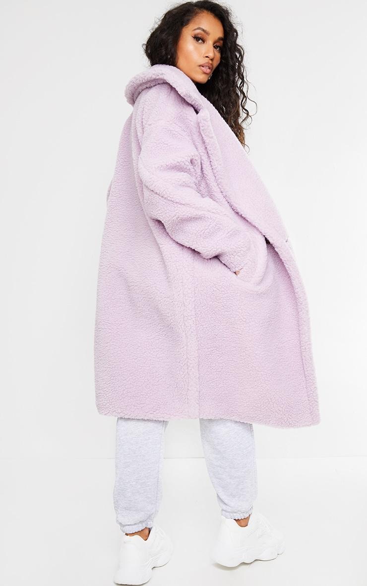 Petite Lilac Borg Oversized Coat 2